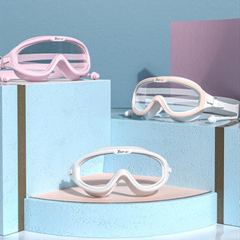 泳镜防水防雾高清专业近视男女士大框游泳眼镜儿童潜水泳帽套装备