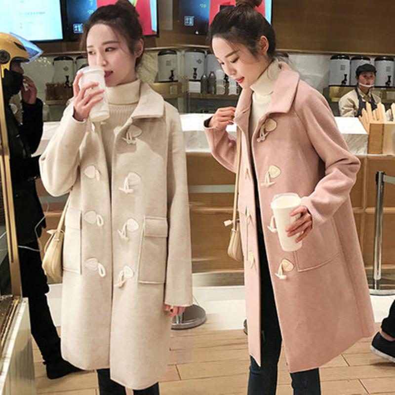 牛角扣呢子大衣女2021新款流行中长款学院风小个子毛呢外套女秋冬
