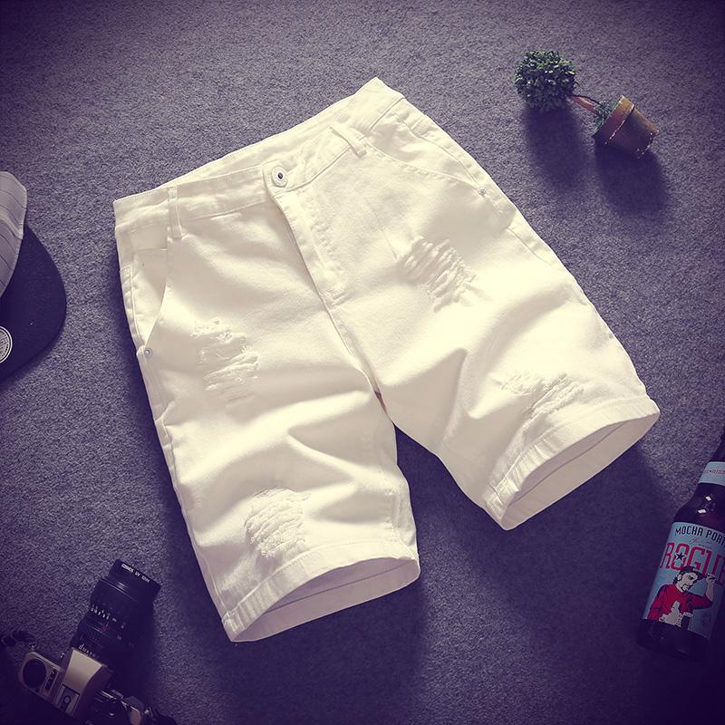 加大夏季白色代购码破洞男士潮流v白色短裤胖宽松沙滩五分中裤牛仔