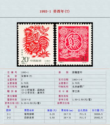 China Collection Stamp Two-round Zodiac Chicken China Twelve Zodiac Stamp 1993-1 酉 T