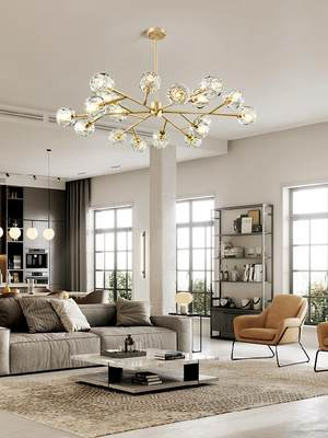 .Special light luxury style decoration American chandelier American Nordic chandelier glass simple dining room simple