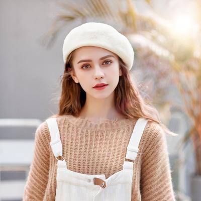 贝雷帽女秋冬季韩版日系百搭羊毛蓓蕾帽画家帽英伦复古南瓜帽子潮