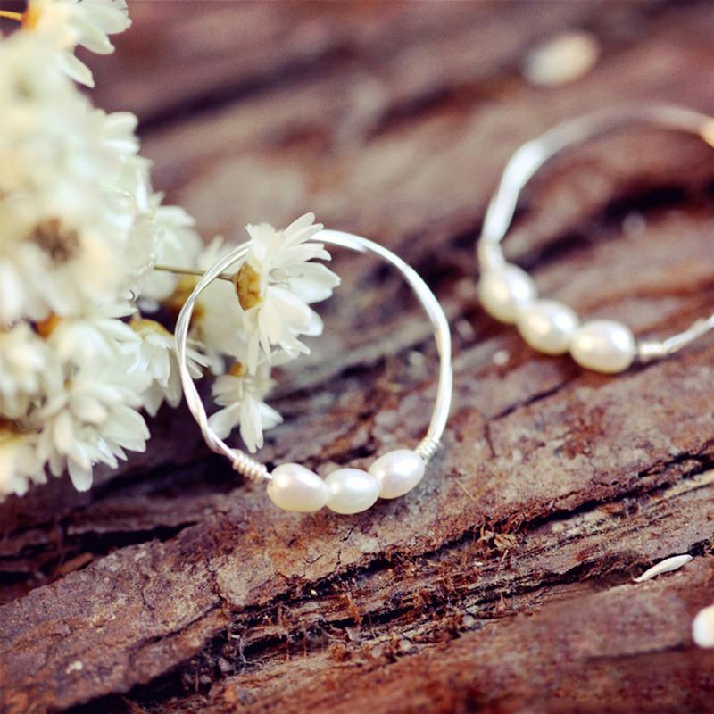 S925经典关节小韩国食指女纯银天然戒指尾戒珍珠简约装饰复古戒
