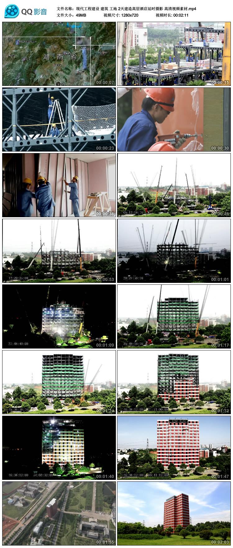 现代工程建设 建筑 工地 2天建造高层酒店延时摄影 高清视频素材