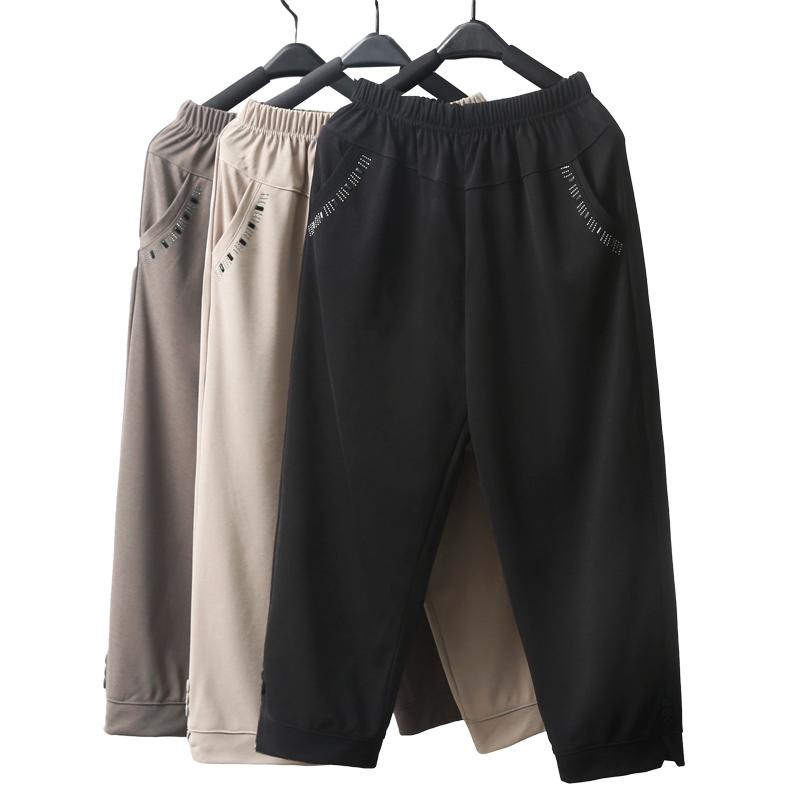 中老年女裤夏季薄款七分裤松紧高腰奶奶装老年人宽松大码妈妈裤子