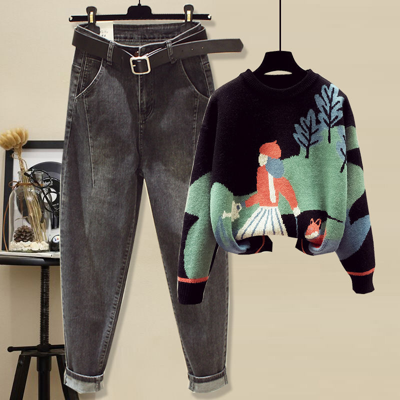 Fat girl suit thin loose autumn and winter dress size women's sweater jeans children born belly cover 115 years old 14 19 Online shopping Bangladesh