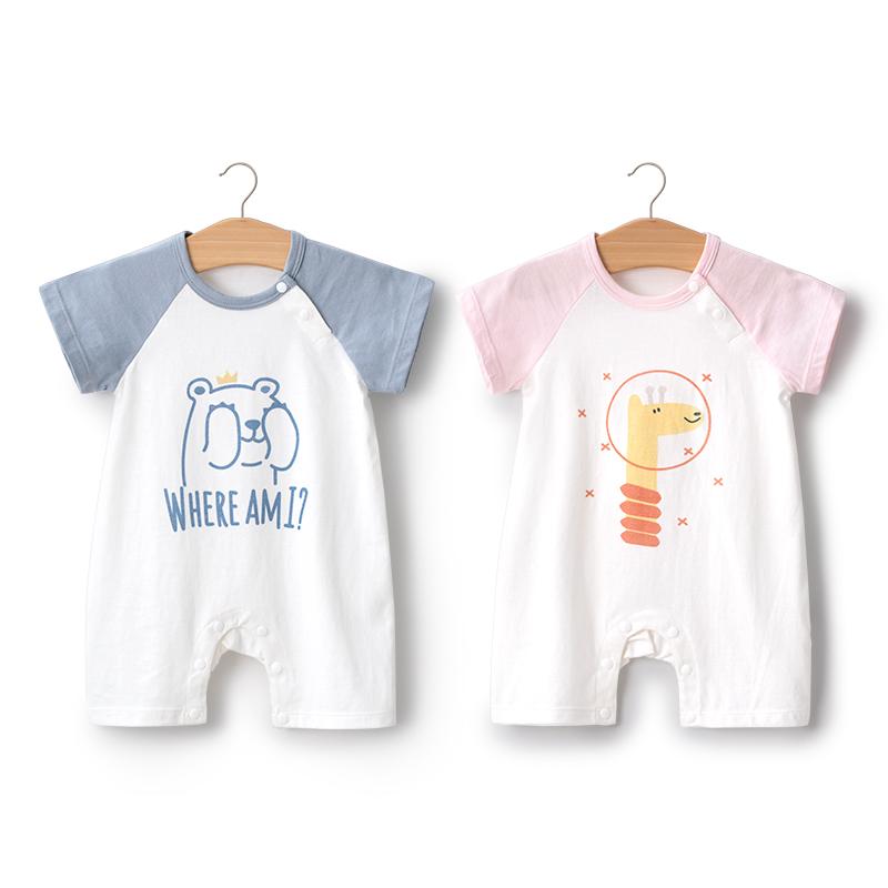 婴蓓依婴儿连体衣夏季薄款短袖