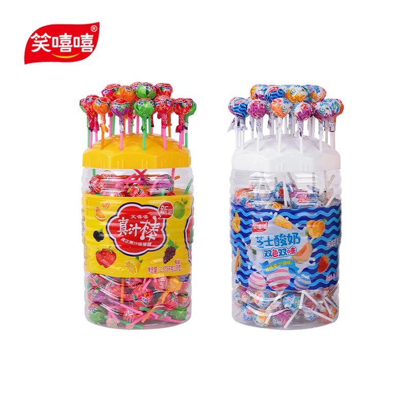 笑嘻嘻棒棒糖混装水果味150支超大桶装散装批发糖果零食婚车装饰