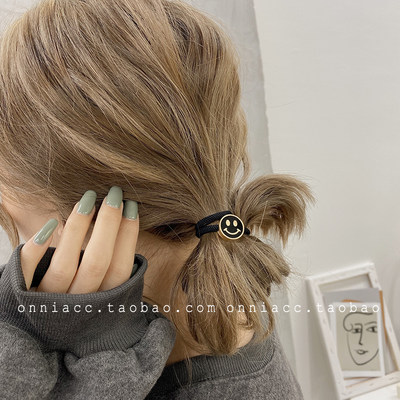 Korea Dongdaemun smiley face expression hair rope female hair accessories head rope rubber band tie basic simple
