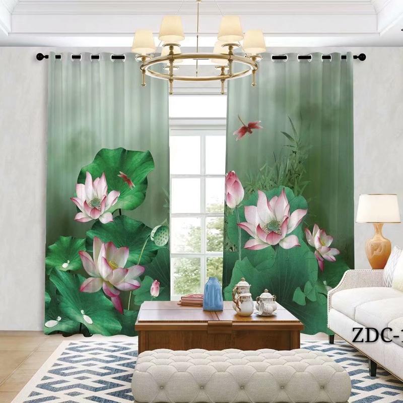 新中式窗帘水墨画荷花客厅窗纱复古阳台纱中国风古典禅意隔断布帘