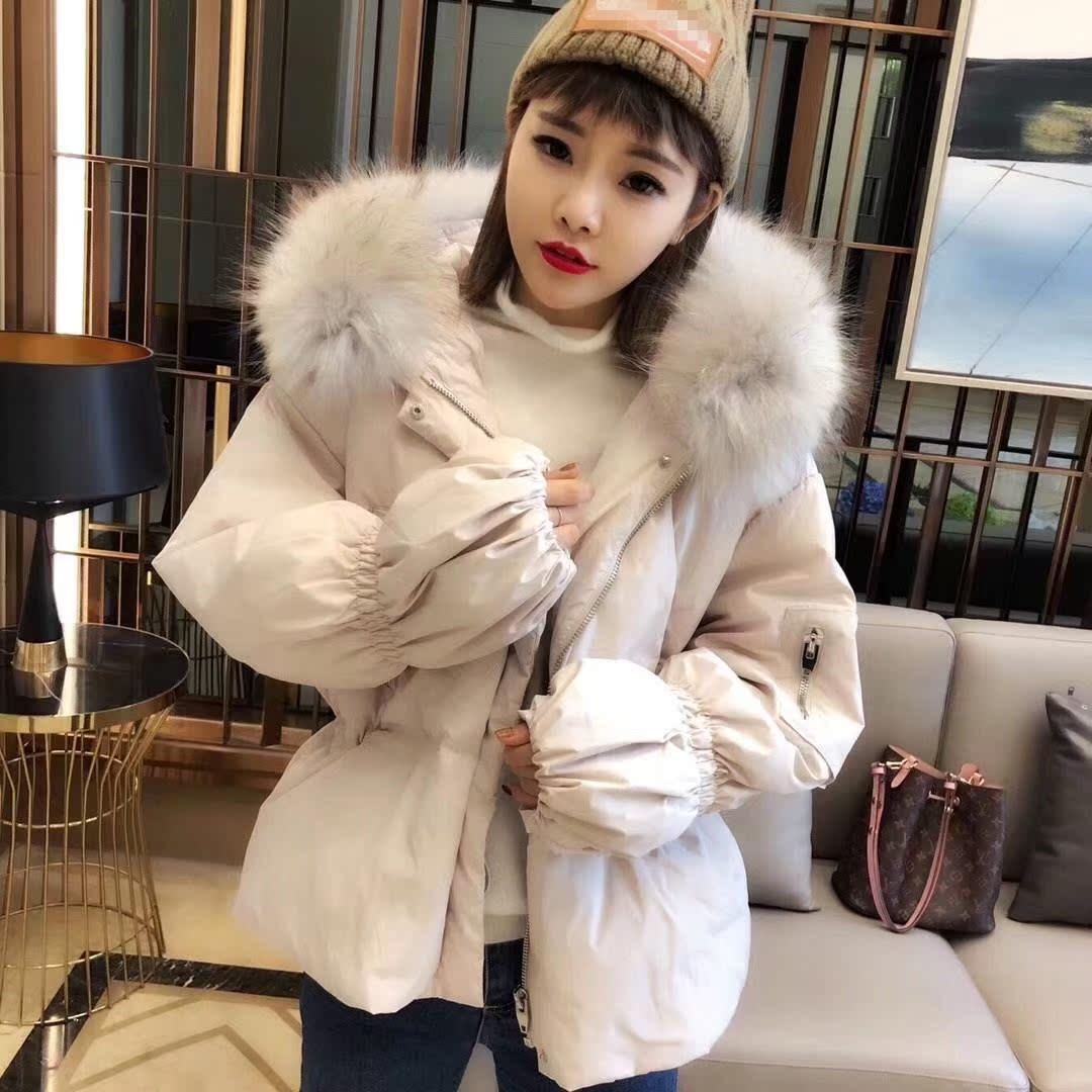2018新款韩国加厚外套羽绒服女时尚收腰超大显瘦短款修身毛领冬装