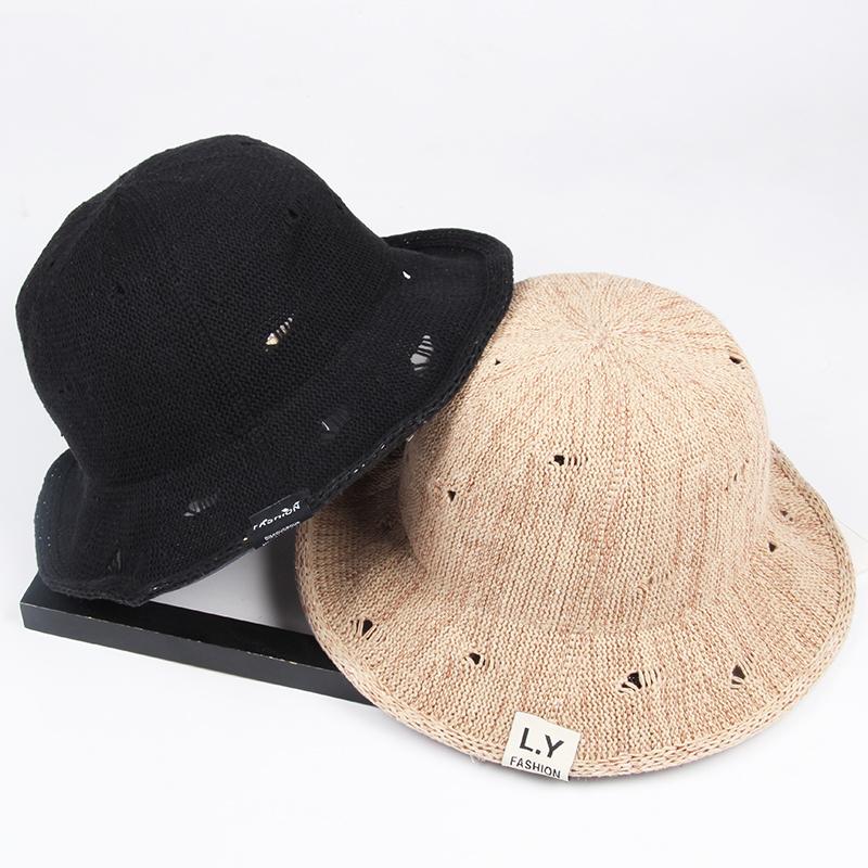 夏季透气破洞可折叠草帽女优雅休闲渔夫帽简约盆帽大沿遮脸遮阳帽