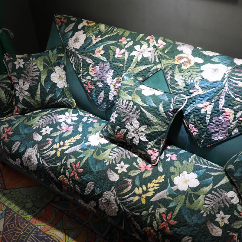 雨朵美式花卉全棉沙发元素四季自然垫田园防滑沙发通用布艺套巾