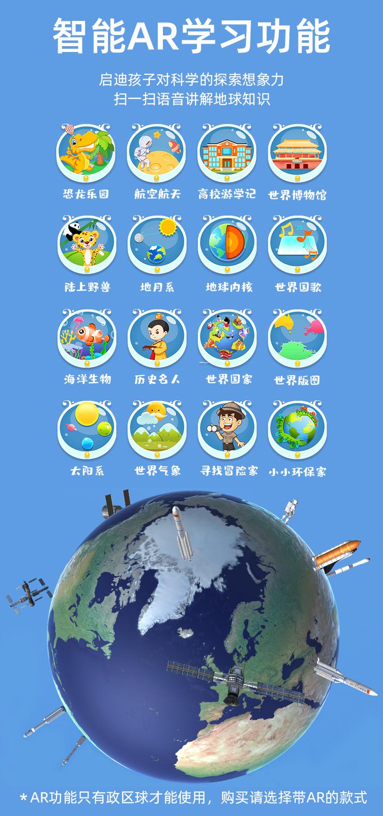 正版地球仪立体磁浮儿童节生日礼物智能高清语音发光自转摆件檯灯创意客厅装饰学生用初中生地理黑科技详细照片