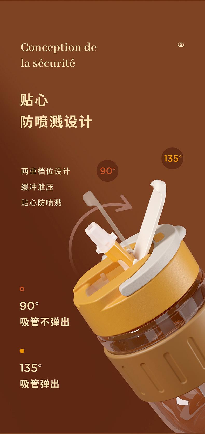 物生物 咖啡杯玻璃杯带盖吸管茶杯 图9