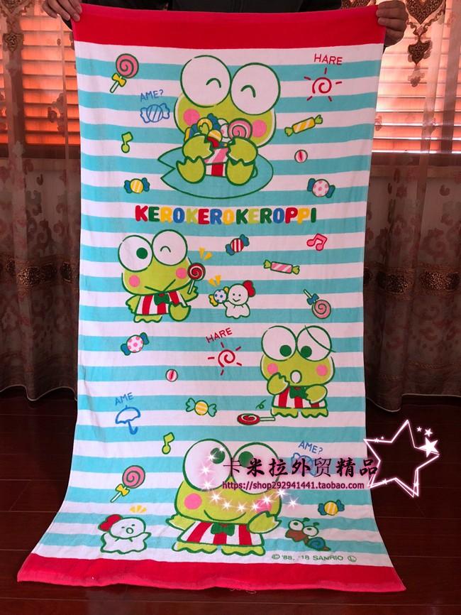 卡通大眼毛巾可爱青蛙儿童特价纯棉a卡通吸水成人沙滩巾v卡通大浴巾