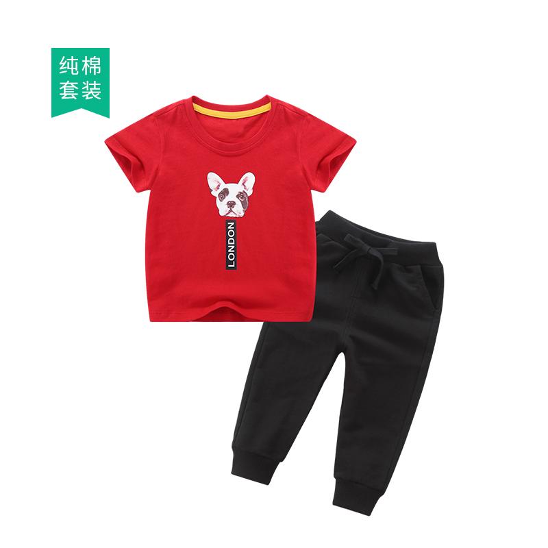 夏装件套2019新款宝宝童装T恤套装长裤男童v夏装短袖儿童两短袖潮