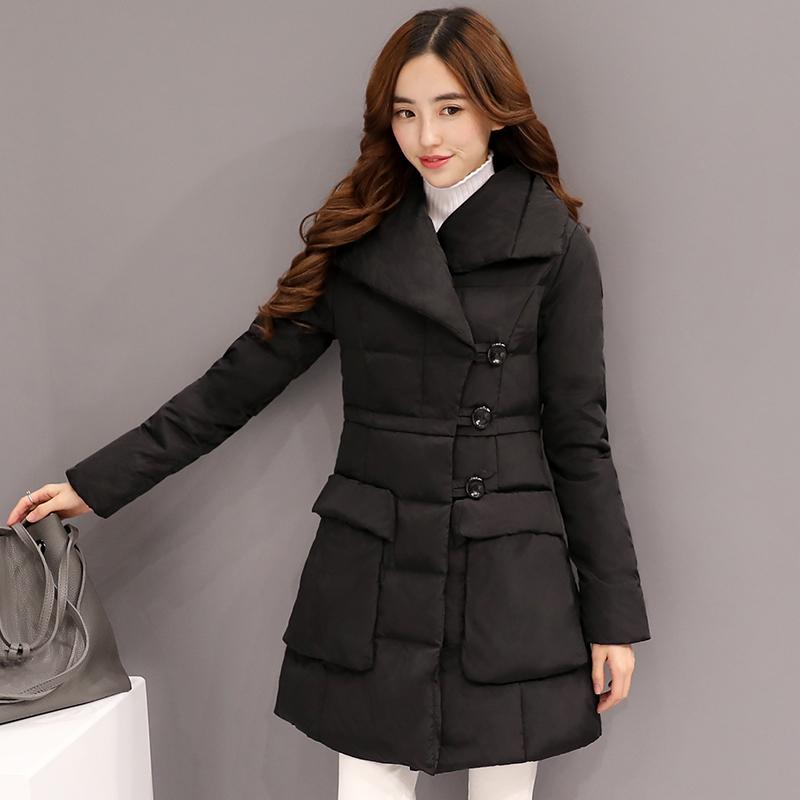 2016冬装新款羽绒服女装加厚保暖韩版修身显瘦中长款毛领连帽衣