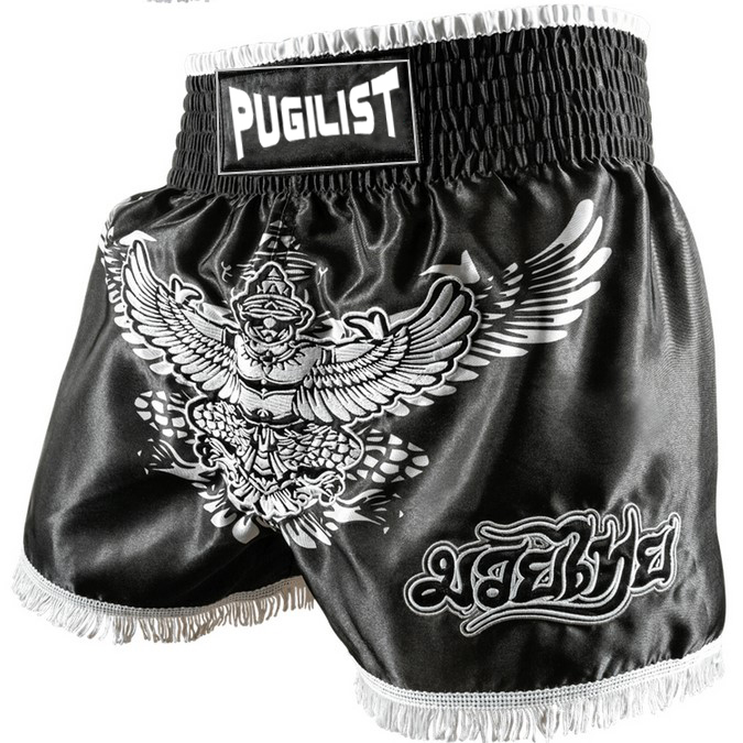 MMA shorts Muay Thai pants PUGILIST Thai King black fighting shorts fitness loose training boxing suit loose pants.