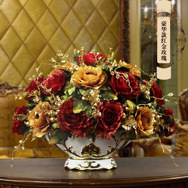 European Style Simulation Vase Pot Set Silk Flower Artificial Flower Home Decoration Flower Flower Arrangement Flower Porch Living Room Table Floral