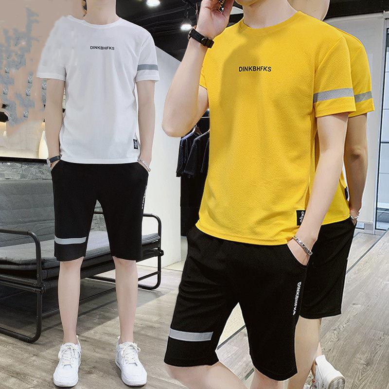 夏季短袖运动套装2020新款圆领青年春季潮流短T恤短裤两件套男款