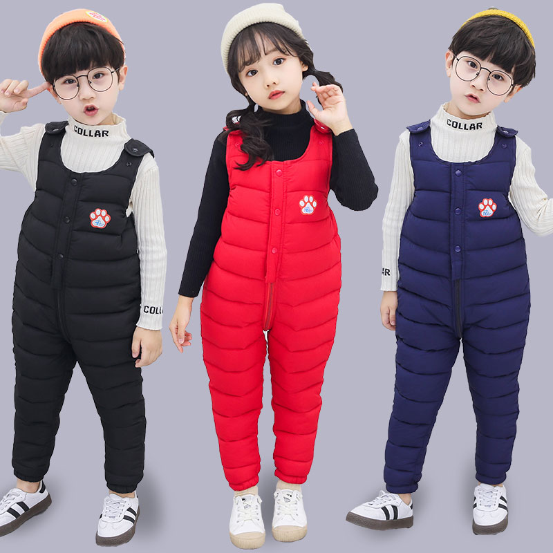 Baby down cotton pants can open the gear strap pants thick warm children 2 men 1 outside wear female 3 years 5