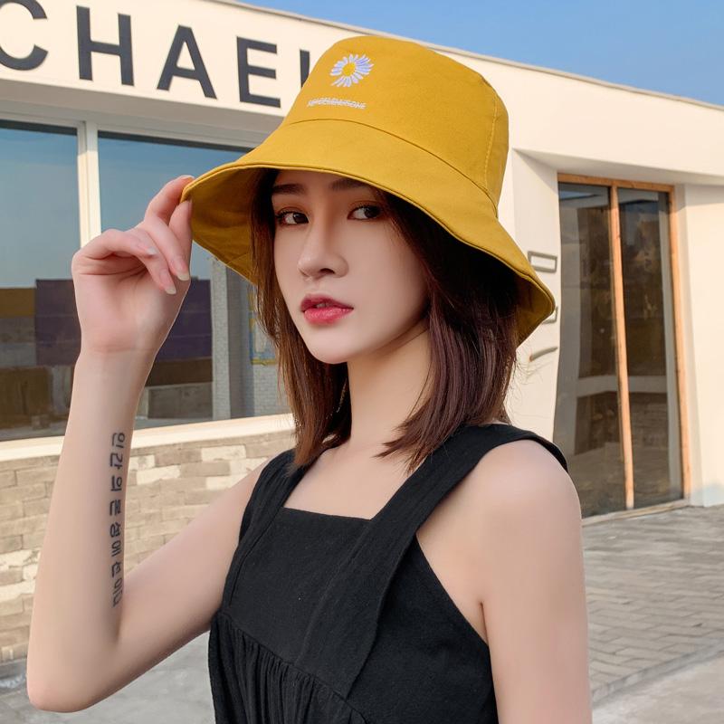 小雏菊渔夫帽子女甜美可爱韩版潮遮阳帽百搭盆帽双面防晒帽太阳帽