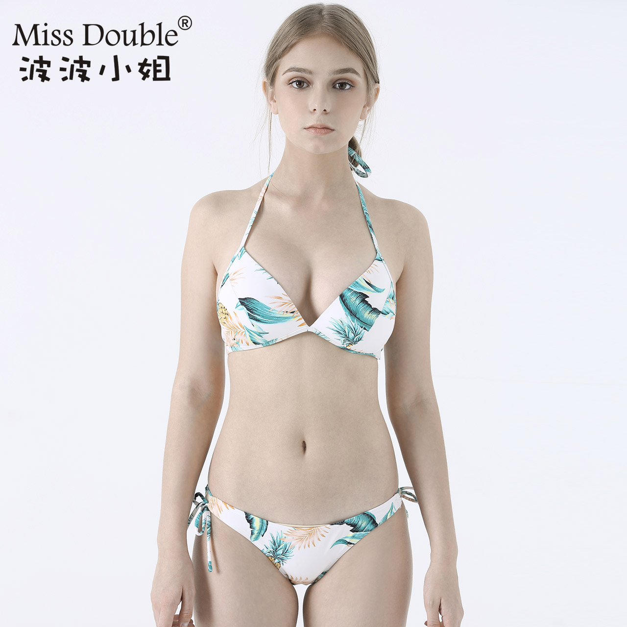 a96dce198b Miss Bobo inflatable gather small chest sexy bikini swimsuit lady White  Three-Point split swimsuit