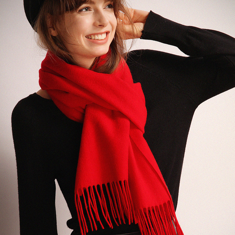 织奴女士双面羊毛围巾,可当披肩使用