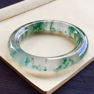 Natural ice floating flower jade bracelet Myanmar a cargo ice transparent jade bracelet round strip floating green jade bracelet female models authentic