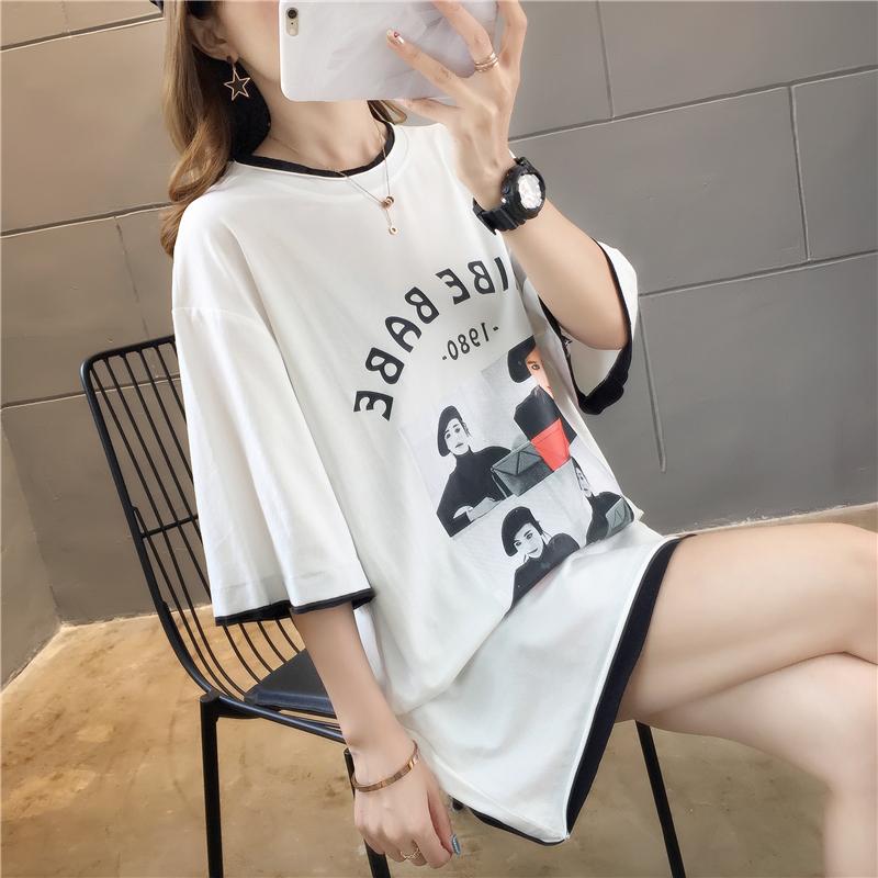 實拍奧戴爾百分百純棉不下架網紅同款韓版寬松中長短袖t恤女