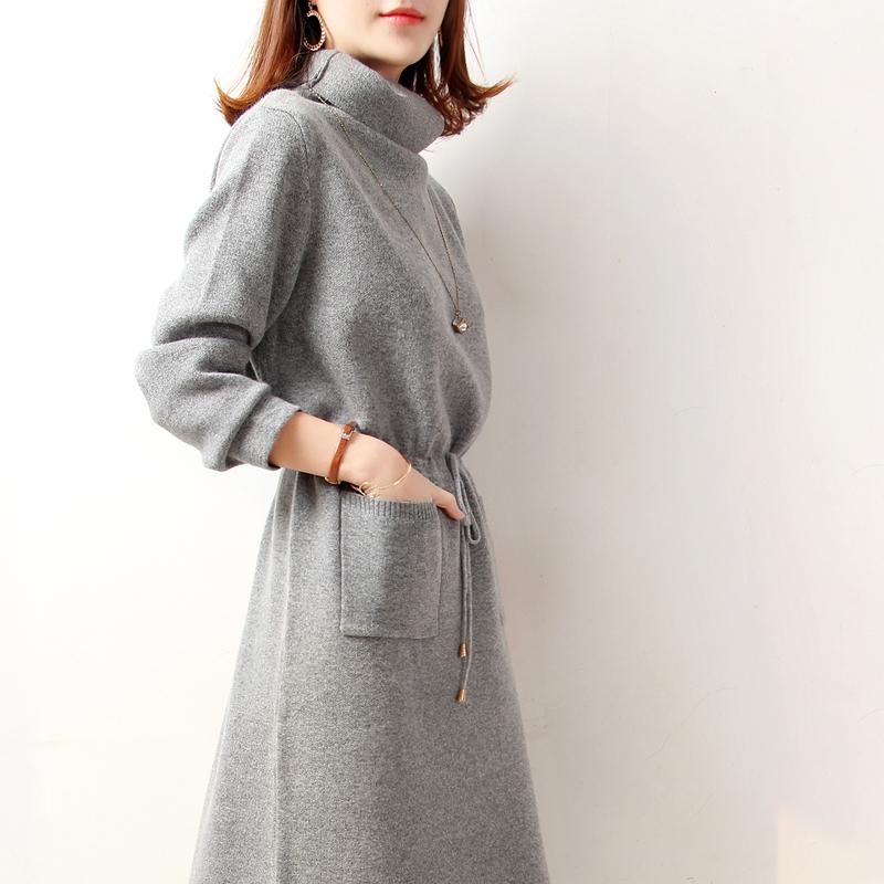 法国小众连衣裙女高腰加厚2019新款连衣裙复古气质收腰法式针织裙