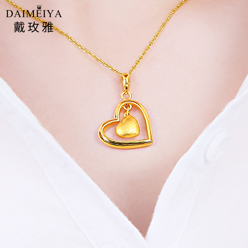 Gold Pendant 999 gold necklace ladies heart shaped 24 gold pendant fine gold new 999 gold necklace ladies heart shaped 24 gold pendant fine gold new clavicle chain genuine 3d audiocablefo