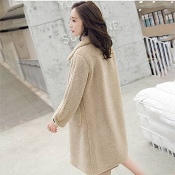 2020 spring and winter new grain velvet long sleeves in the long section loose loose slim lambskin jacket female 05
