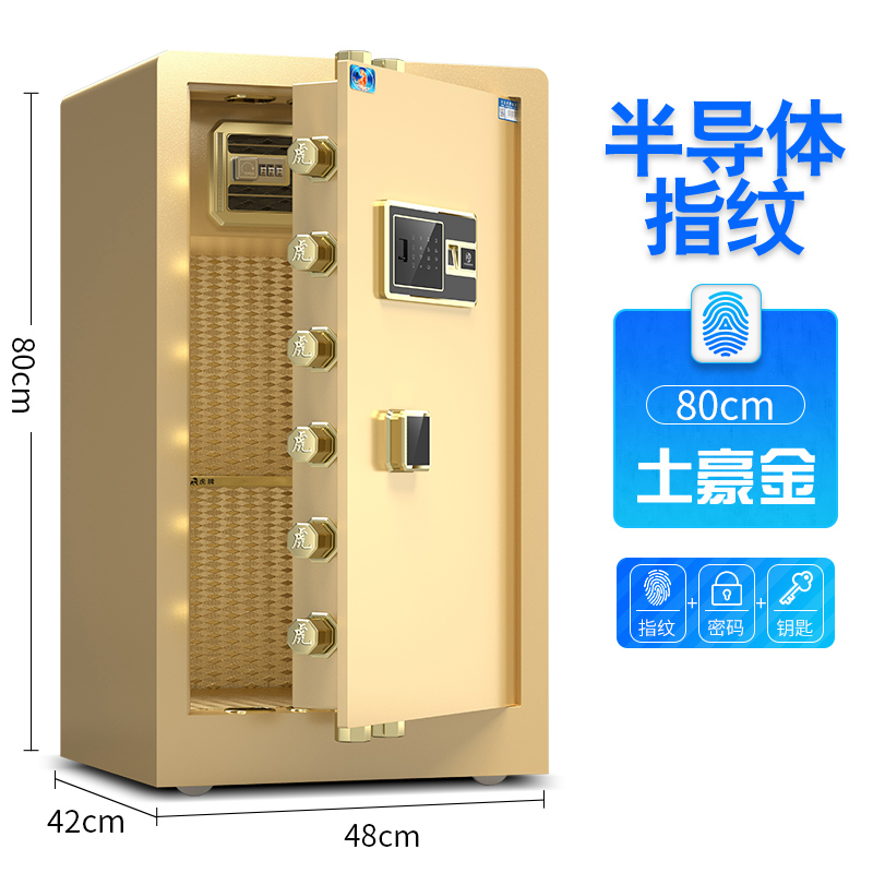 80 SINGLE DOOR LOCAL GOLD (FINGERPRINT + PASSWORD + KEY)