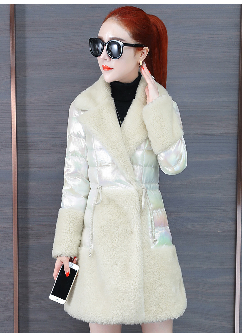 Colorful bright leather down cotton clothing tide 2020 new women's thick bright-faced cotton clothing in the long winter lamb wool cotton wool 62 Online shopping Bangladesh