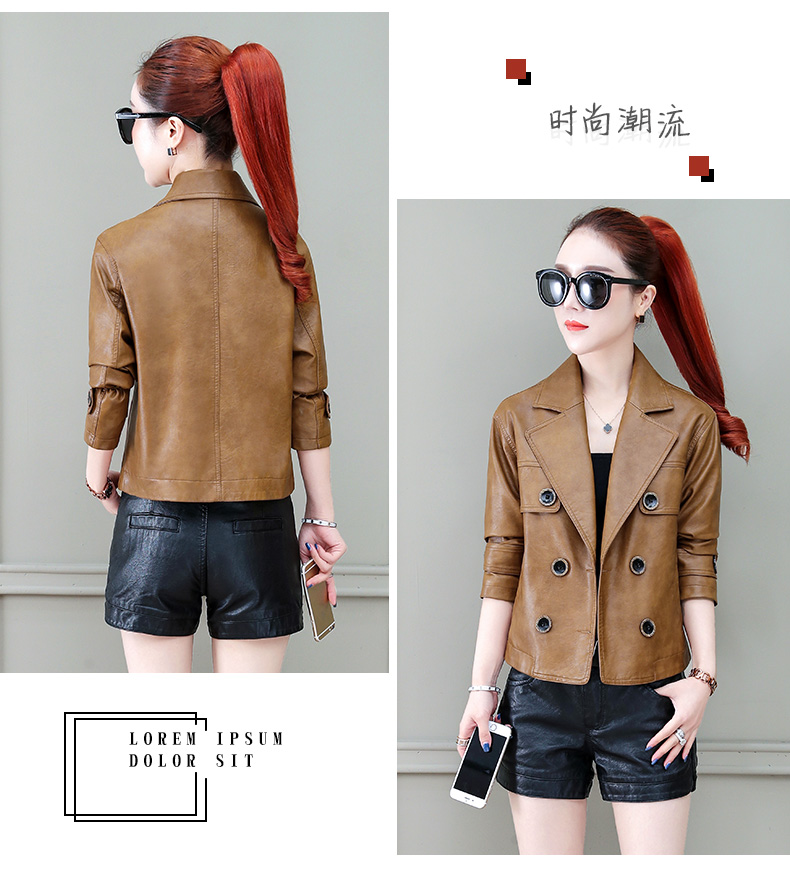 Locomotive jacket women 2020 new autumn and winter fashion small air fried street short spring and autumn small leather jacket tide 63 Online shopping Bangladesh