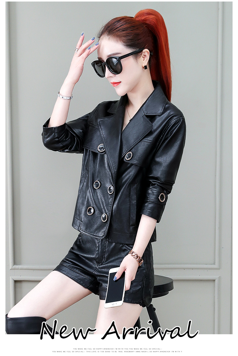 Locomotive jacket women 2020 new autumn and winter fashion small air fried street short spring and autumn small leather jacket tide 60 Online shopping Bangladesh