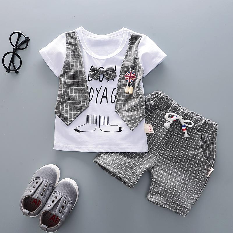 Baby Boys Summer Cotton Clothes Sets 2pc Cute Short Sleeve T-shirt+Plaids Shorts