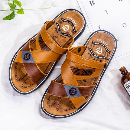 新款凉鞋男士夏季露趾透气青年沙滩鞋两用防滑舒适悠闲韩版耐磨34