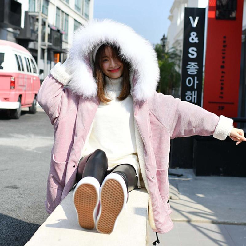 时尚大毛领灯芯绒羊羔毛棉衣中长款