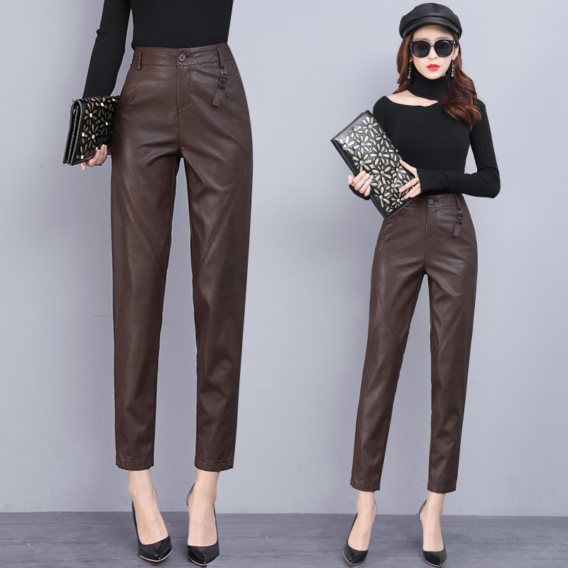 Leather leather pants women 2020 autumn and winter new model Harun pants thin foot nine pants casual pants thin loose pants