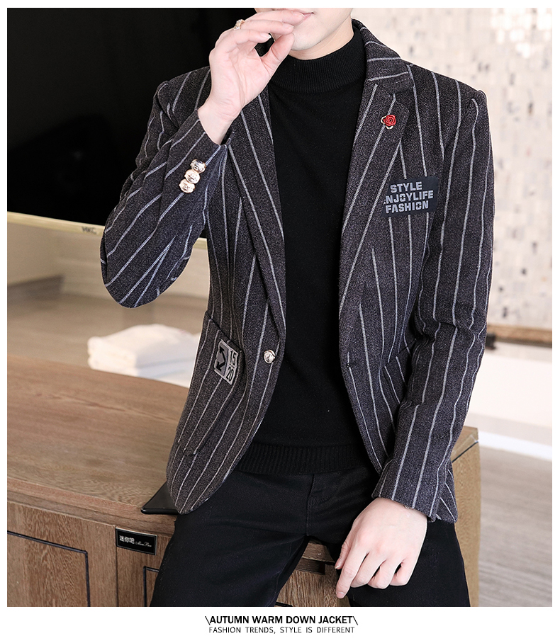 Trendy suit men's plush jacket Korean version handsome autumn and winter hair and striped small suit thickened top 59 Online shopping Bangladesh