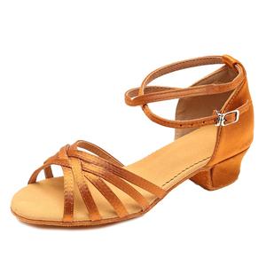 专业拉丁舞鞋女儿童少女童女孩初学者中低跟软底舞蹈鞋四季跳舞鞋