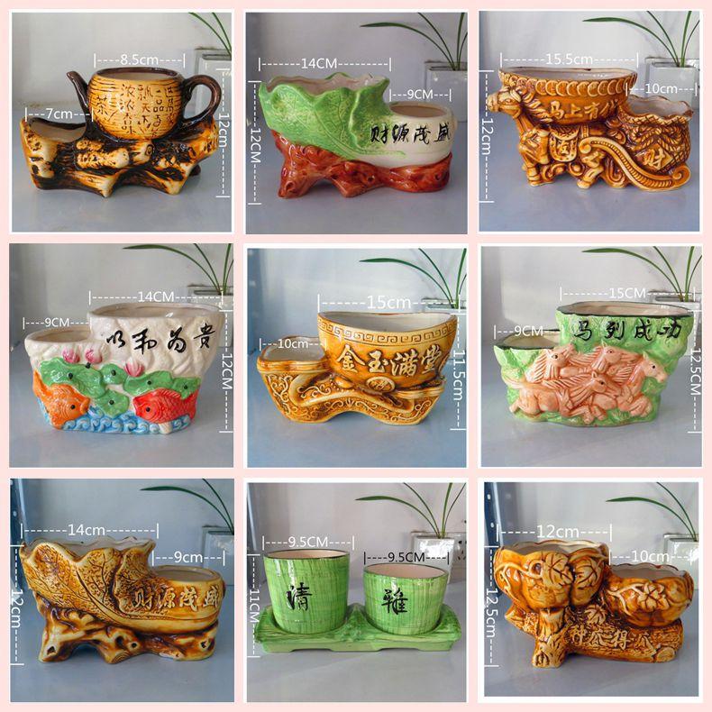 Bình gốm hoa Bình cá nhân Sáng tạo Xiêm Đôi xi lanh Retro Đôi miệng lớn Trung bình Nhỏ Trong nhà Cây cảnh bonsai Cây cảnh đặc biệt - Vase / Bồn hoa & Kệ