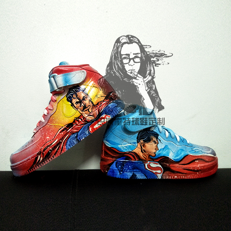 ef88cfc2124 Private shoes custom AJ1 Air Force One white shoes makeover hand-painted  Superman AF high top sneakers Superman