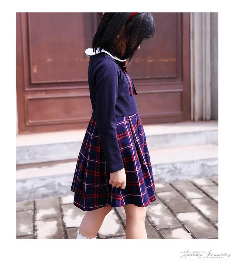 童装女童公主裙春秋新款小女孩洋装韩版中大童长袖格子裙潮详细照片
