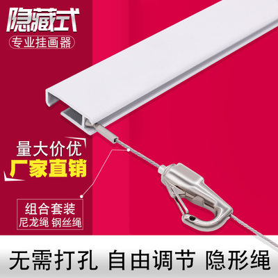 Hanging picture rail stainless steel wire rope adjustment household hanging picture line hidden art exhibition gallery picture hook hanging mirror line