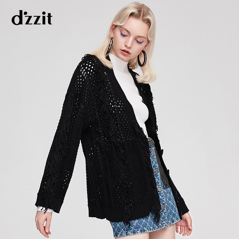 dzzit地素 春装新款v领黑色中长款针织开衫外套毛衣女3F3E5031A