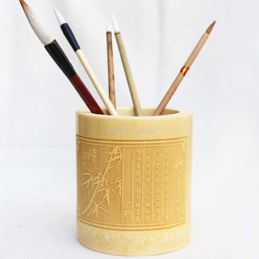 浔雅轩!竹制本色笔筒/文房四宝毛笔书法用品/办公用生用品